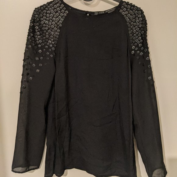 Zara Blouse with Faux Leather Details - Black